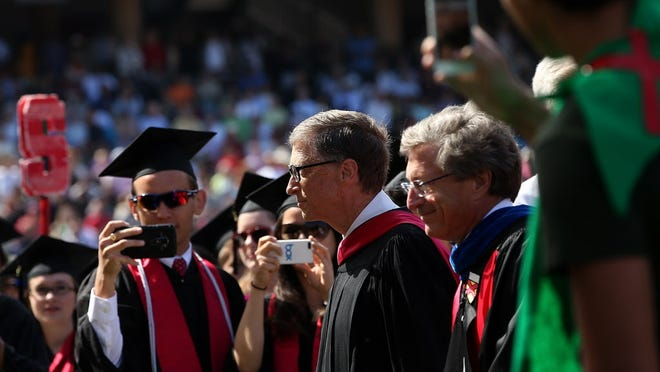 Microsoft founder and chairman Bill Gates attends Stanford's commencement ceremony in June in Stanford, Calif.