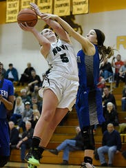 Novi's Julia Lalain (5) is defended by Western's Jordan