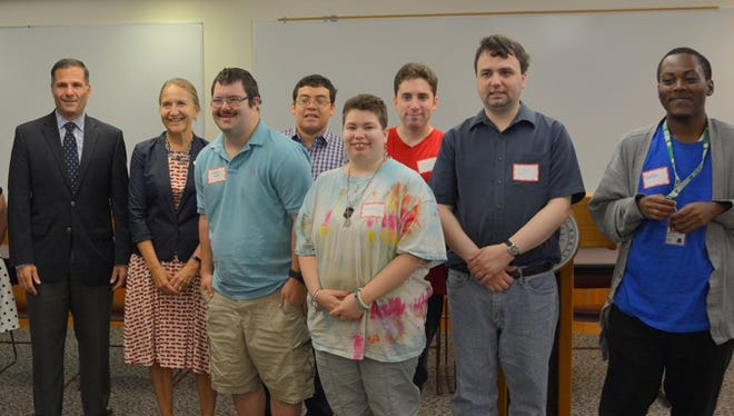 """Dutchess County Executive Marc Molinaro and Dutchess Community College President Pamela Edington joined """"Think Ahead"""" students and instructor Julia Quattrocchi during the Aug. 29 orientation at the school's Poughkeepsie campus."""