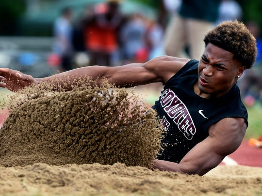 Jalen Tate of West Creek High School competes in the Class AAA long jump event during the State Track and Field Championships at Middle Tennessee State University Friday, May 26, 2017, in Murfreesboro, Tenn.