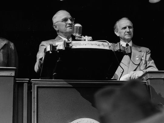 Harry Truman in Indianapolis at Union Station.  Oct. 1948