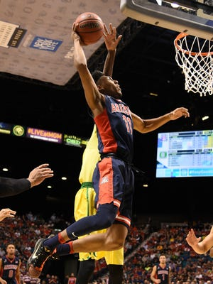 March 11, 2016: Arizona Wildcats guard Allonzo Trier (11) shoots the basketball against the Oregon Ducks during the first half in the semifinals of the Pac-12 Conference tournament at MGM Grand Garden Arena.