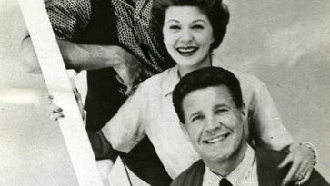 """From bottom, Ricky, Ozzie, Harriet, and David Nelson in a publicity photo for their long-running TV Series, """"The Adventures of Ozzie and Harriet. """" The show started on radio."""