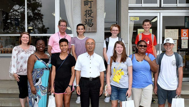Students from Horseheads pose with the mayor of their sister city of Nakagawa, Japan during a July visit.