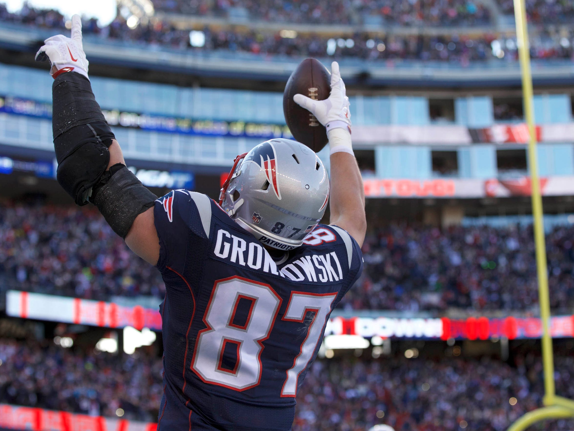 Rob Gronkowski, the Patriots tight end, is at No. 50
