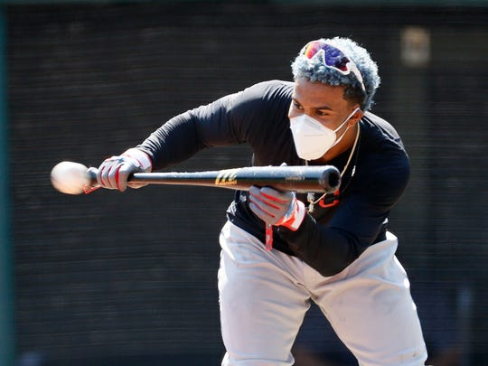 Cleveland Indians' Francisco Lindor bunts during baseball practice at Progressive Field, Monday, July 6, 2020, in Cleveland. (AP Photo/Ron Schwane)