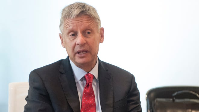 Libertarian presidential candidate Gary Johnson speaks with the USA TODAY editorial board on Sept. 21, 2016, in McLean, VA.