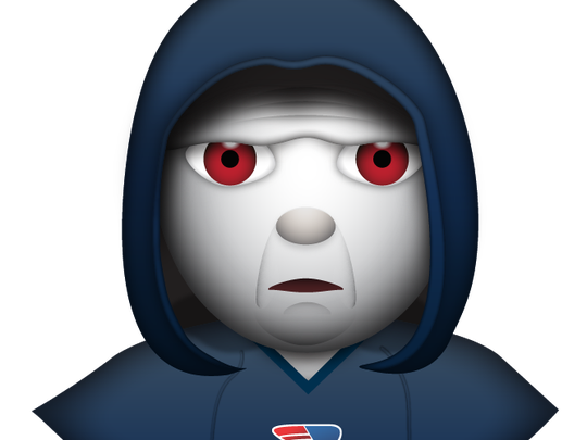 Patriots coach Bill Belichick looks a little ghostly in his emoji.