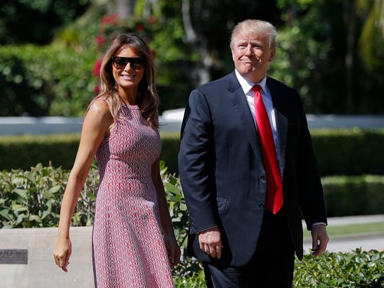 "President Donald Trump and first lady Melania Trump arrive for Easter services at Episcopal Church of Bethesda-by-the-Sea in Palm Beach, Florida. Trump on Sunday declared ""NO MORE"" to a deal to help ""Dreamer"" immigrants and threatened to pull out of a free trade agreement with Mexico unless it does more to stop people from crossing into the U.S."
