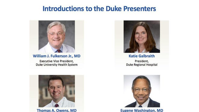 The Duke Health leadership team made its case for why the university-based nonprofit health system would be the best match for a partnership with NHRMC.