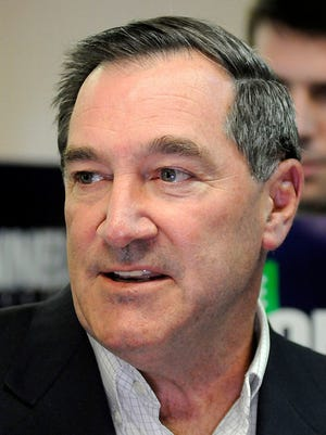 Sen. Joe Donnelly, D-Ind., takes questions from the media on Aug. 21, 2017, in Anderson, Ind.