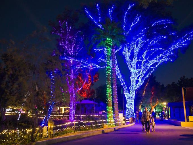 Displays illuminate at ZooLights at the Phoenix Zoo