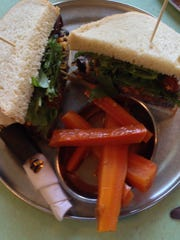 The black bean sandwich is one of several vegetarian options.