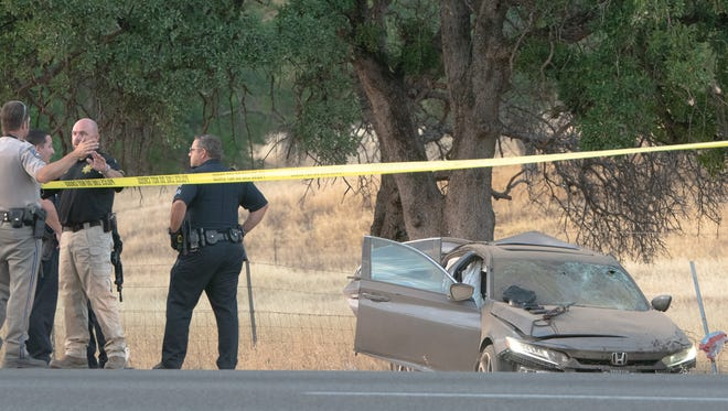 Officers investigate an officer-involved shooting in Los Molinos. The suspect reportedly fled in a Honda sedan that crashed on Interstate 5 north of Red Bluff.