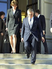 Noted attorney Al Pirro, right, walks out of federal prison in White Plains in 2000 in front of his wife, Westchester District Attorney Jeanine Pirro. Al Pirro later served 11 months in prison on a federal tax-evasion conviction.