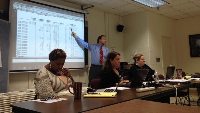 Paul Irish, interim assistant superintendent, explains unaudited financial reports for the Burlington School District at a meeting of the School Board Finance Committee on Tuesday. District administrators Nikki Fuller and Stephanie Phillips, from left, and Accounting Manager Miranda MacDonald are seated.