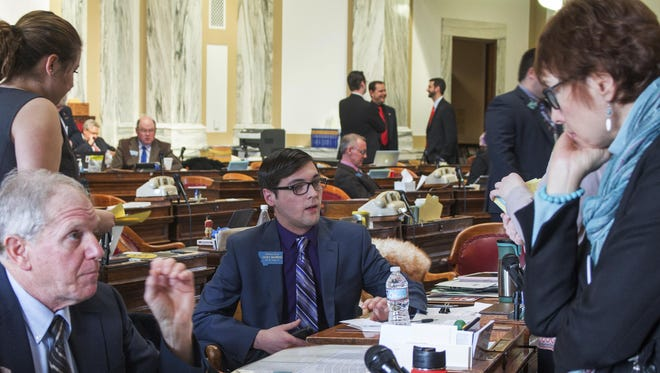 Rep. Jacob Bachmeier, center, D-Havre, attends a session of the Montana Legislature in Helena on March 10. Bachmeier, who at 19 is the youngest member of the Montana Legislature and among the youngest in the nation.