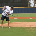 Pensacola's Alex Blandino fields the ball and throws to first base during Ice Flyers night at Admiral Fetterman Field Saturday night. The Wahoos wore special jerseys that resembled the Ice Flyers' hockey jerseys and incorporated many of the in-game sounds and aspects from an Ice Flyers' hockey game.