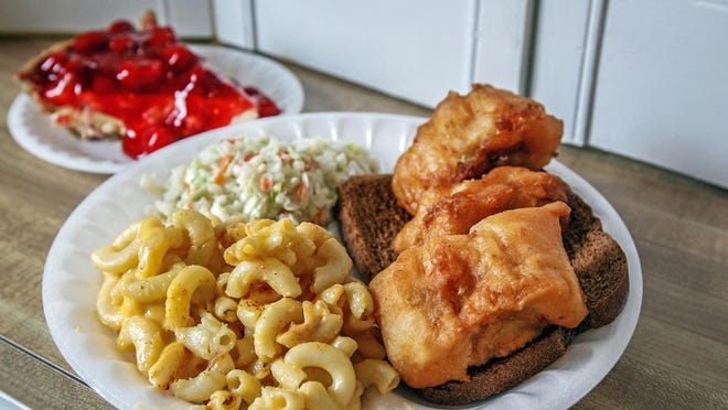 Food from Hartzell United Methodist Church fish fry, serving fish meals each Friday through Lent.