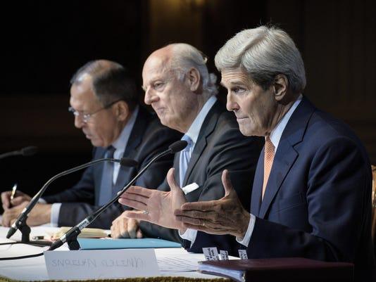 Sergei Lavrov, John Kerry, Staffan de Mistura