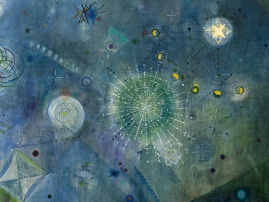 """This oil and mixed media work on canvas by Laura Battle is part of """"Touch the Sky,"""" an art and astronomy exhibit at Vassar College, Poughkeepsie, opening April 29 through Aug. 21."""