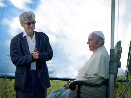 "Director Wim Wenders, left, and Pope Francis during the filming of ""Pope Francis: A Man of His Word."""