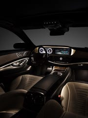 The 2015 Mercedes-Benz S550 features a cruise control that uses radar to keep a preset distance behind vehicles on the road ahead.