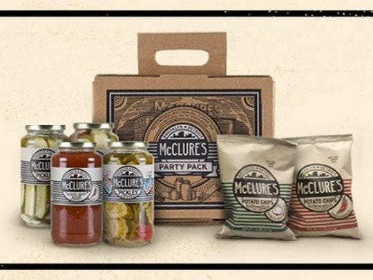 McClures Pickles party pack includes 3 jars of pickes and a jar of bloody mary mix.