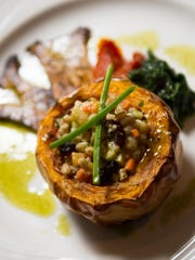 The vegetarian option is farro and roasted vegetable
