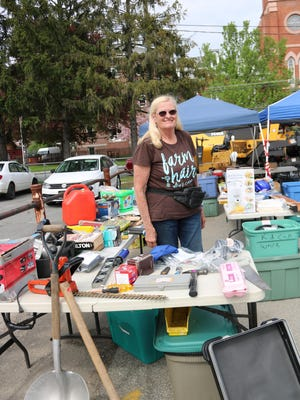 Irene Simpson brought findings from abandoned storage lockers to the Port Jervis Citywide Yard Sale last year.