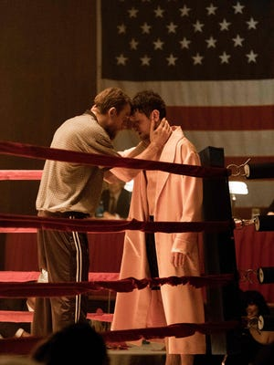 """Actors Charlie Hunnam and Jack O'Connell are seen in the Police Athletic League Hall in Fall River in this scene in """"Jungleland."""""""