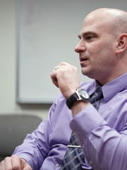 Assistant Chief Keith Porch talk during the roundtable discussion Thursday afternoon at Mansfield Police Department.