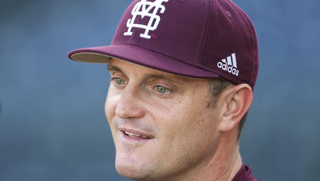 Mississippi State head baseball coach Andy Cannizaro. Southern Mississippi played Mississippi State in a college baseball game at Trustmark Park in Pearl on Tuesday, March 21, 2017. Photo by Keith Warren