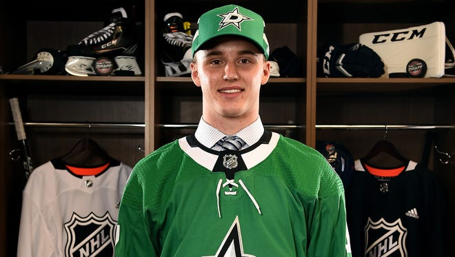 Jake Oettinger poses for a portrait after being selected 26th overall by the Dallas Stars.