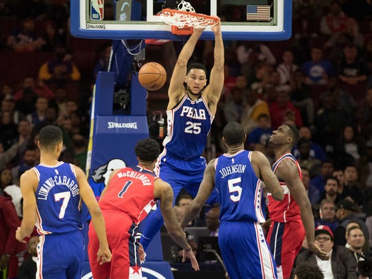 Philadelphia 76ers guard Ben Simmons (25) dunks past