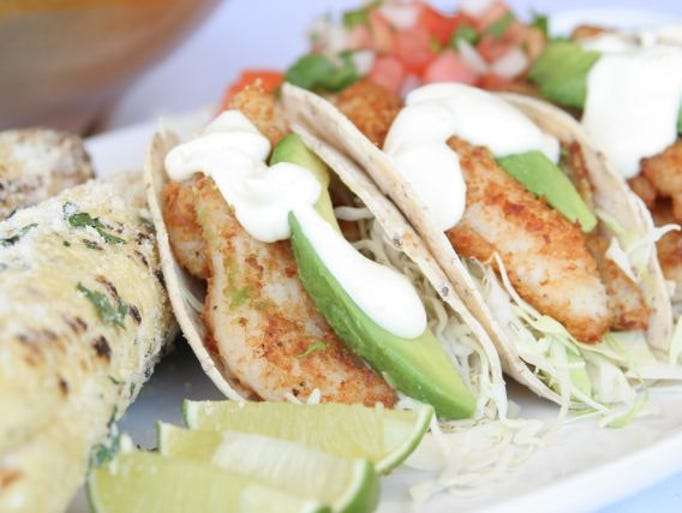 Christina Grubb   Baja fish tacos with three salsas