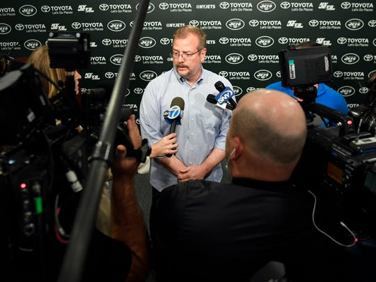 Jets GM Mike Maccagnan speaks to the media before the 2017 NFL Draft in the Atlantic Health Training Center in Florham Park on Monday.