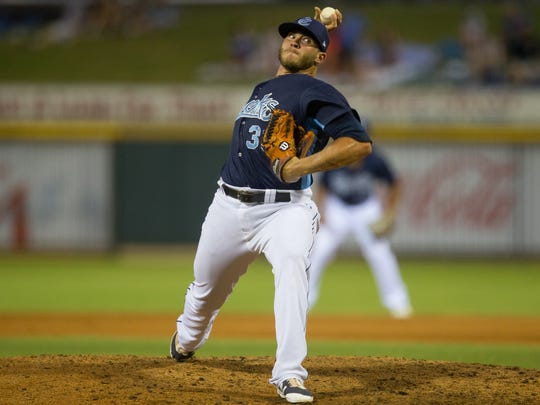 Hooks Riley Ferrell throws a pitch during the fourth inning of their game against Arkansas Travelers at Whataburger Field on Monday, July 10, 2017.