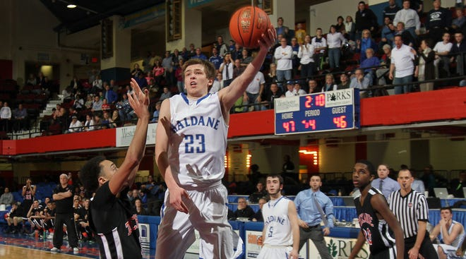 Haldane's Peter Hoffmann (23) drives to the hoop for a second half basket against Tuckahoe during the Class C boys basketball championship game at the Westchester County Center in White Plains Feb. 28, 2014. Haldane won the game 53-47 and Hoffmann was named MVP.