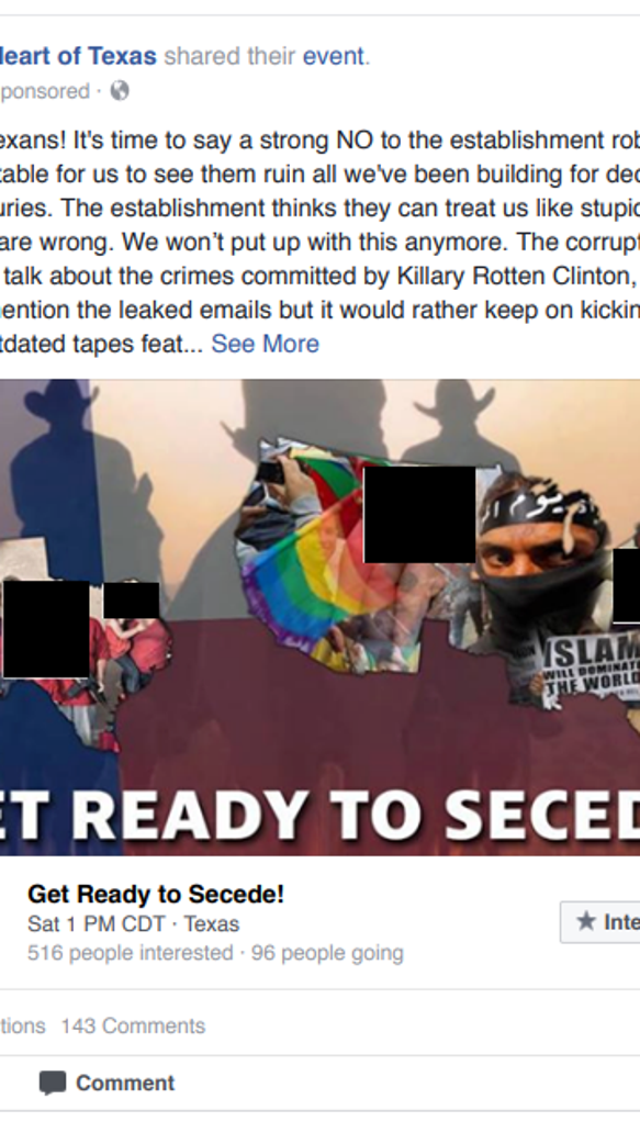 This ad was among the Russian-backed Facebook pages
