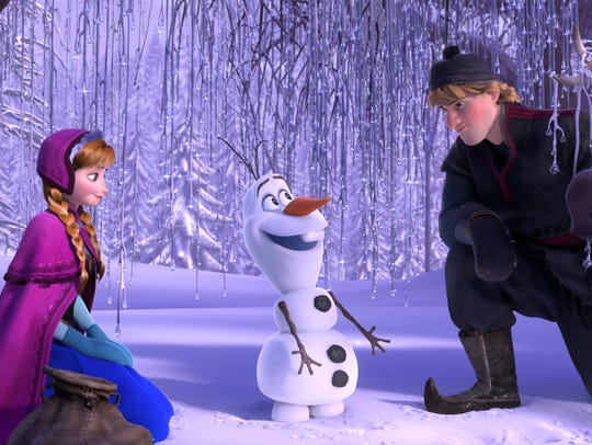 Olaf, seen here with Anna and Kristoff in Disney's