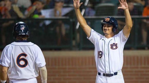 Auburn senior outfielder  Jackson Burgreen had a 2-run home run in a 10-6 win over Kentucky on April 30, 2016.