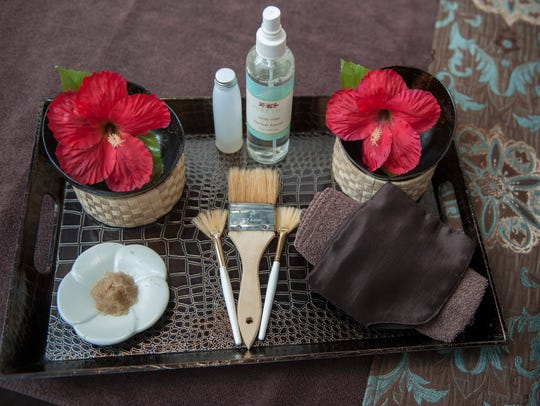 Items used during a body scrub are displayed at Spavia