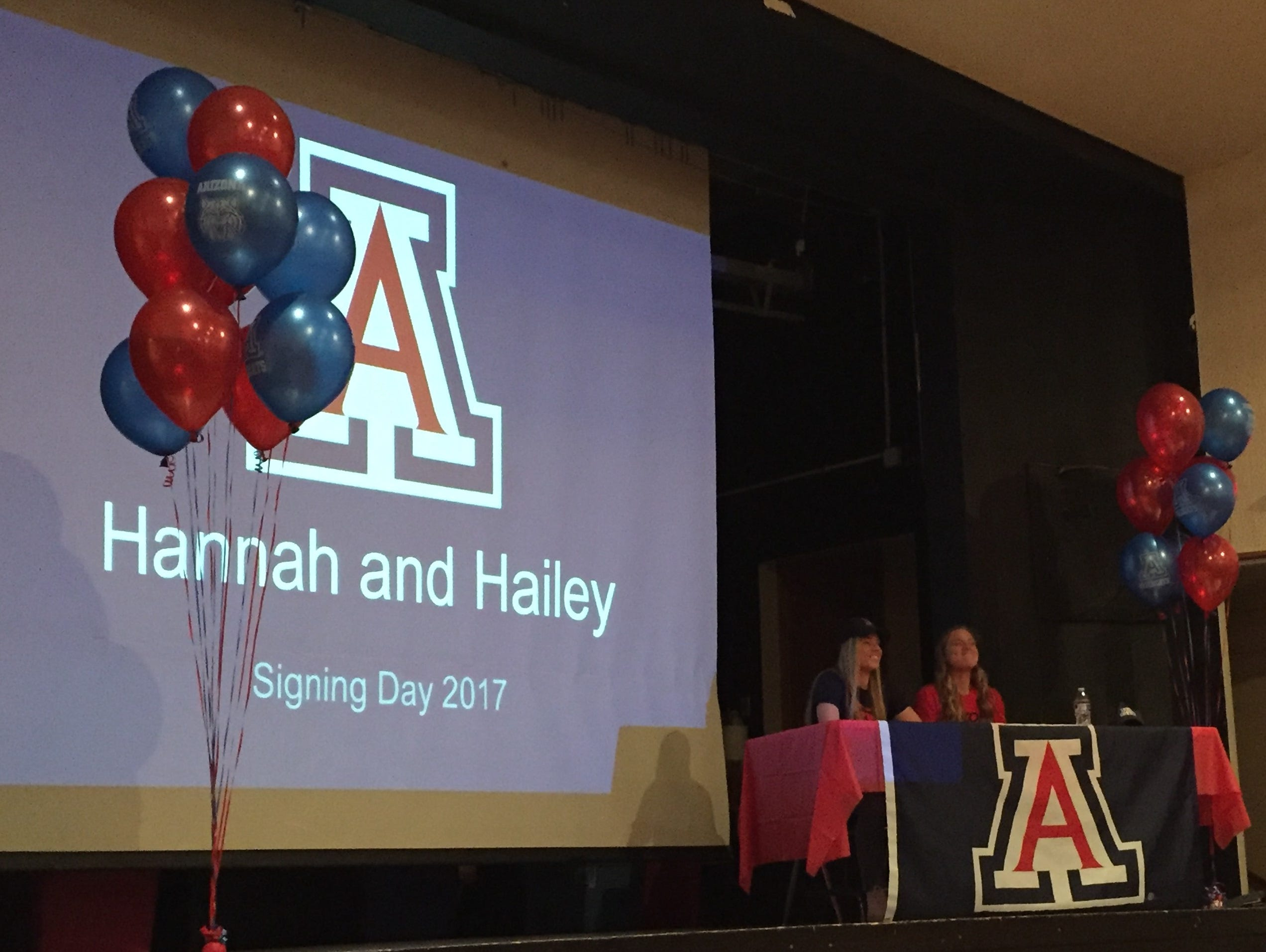 South Salem seniors Hailey Clifford (left) and Hannah Clifford at their National Letter of Intent signign ceremony on Wednesday, Feb. 1, 2017.