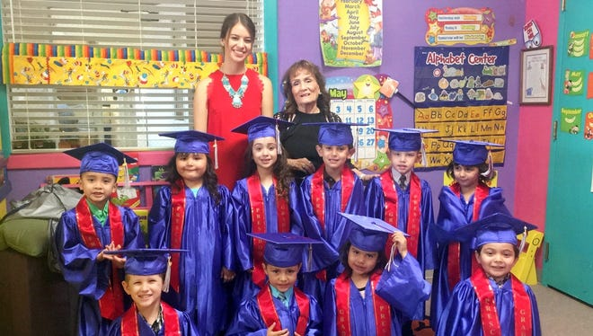 Fruit of the Vine Preschool announced its 2017 graduating class at 615 S. Copper St. Students were dressed in cap and gown and received a certificate of achievement. Standing in back row, from left, are teachers Kelly Fetrow and Maggie Armijo. In middle row, from left, Neiam Borja, Aileya Camuñez, Mia Enriquez, Gabriel Maynes, Joseph Turner, and Danika Serna. In front, from left, are: Vincent Arnett, Nathaniel Gamboa, Jazlene Rodriguez, and Alexander Villarreal.