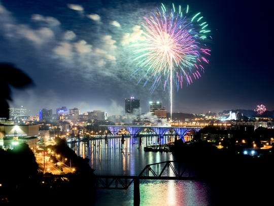 Fireworks burst over the downtown Knoxville skyline during the annual Festival on the 4th fireworks display on July 4, 2018.