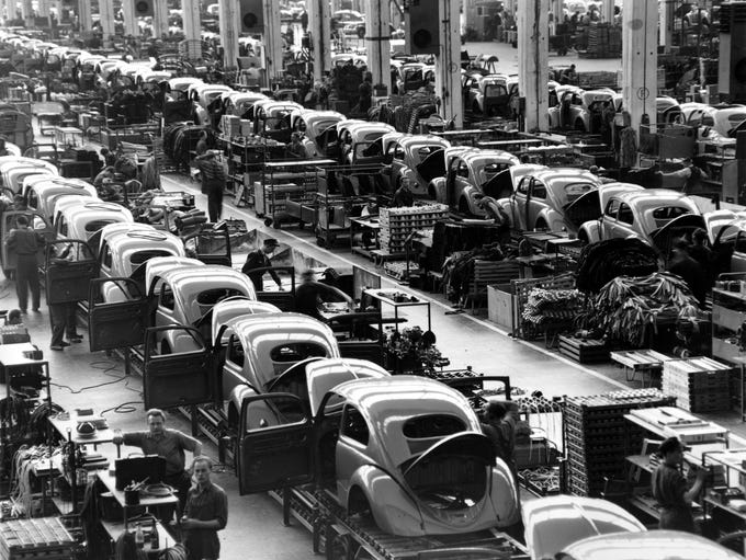 The assembly lines at the Volkwagen auto works plant