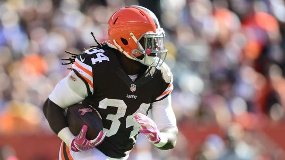 Former Alabama State star Isaiah Crowell rushed for a career-best 88 yards and two touchdowns for the Cleveland Browns in their 26-24 win Sunday at Atlanta.
