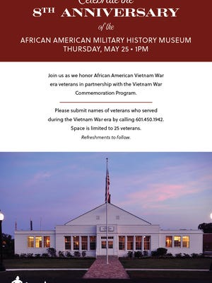The African American Military History Museum will recognize Vietnam veterans during its 8th anniversary celebrations at 1 p.m. May 25.