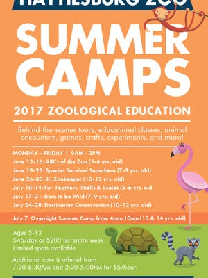The first week of Hattiesburg Zoo's summer camp begins at 9 a.m. June 12.